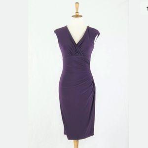LAURE. Ralph Lauren Plum Ruched Sheath Dress 2